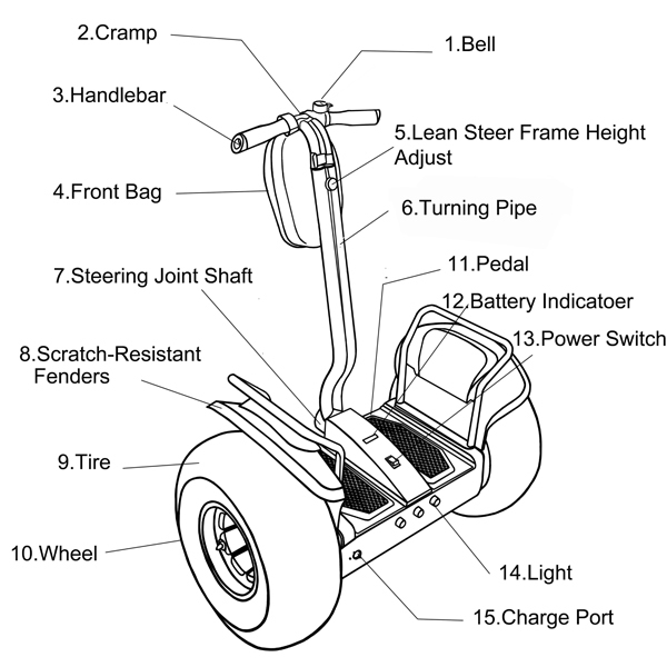 Lithium Battery Segway Electric Scooter , 2 Wheel Self