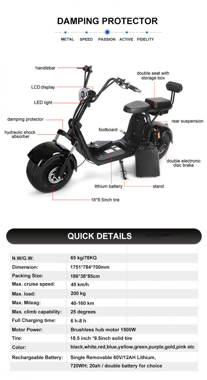 1500w Electric Citycoco Lithium Battery Electric Scooter Vin Number Fat Two Wheels